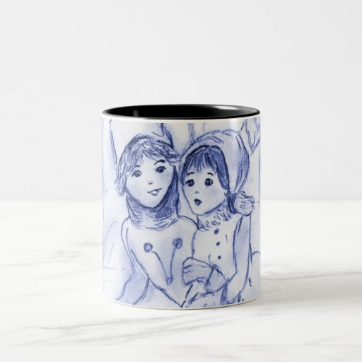 Old Fashioned Skaters in Blue Mug
