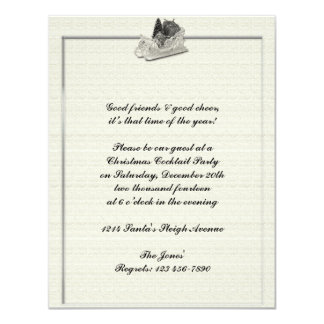 Old Fashioned Sleigh on Linen Pattern 11 Cm X 14 Cm Invitation Card