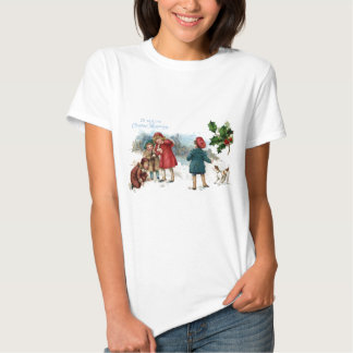 Old Fashioned Snowball Fight on Christmas T Shirt