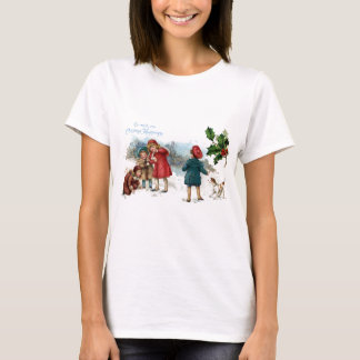 Old Fashioned Snowball Fight on Christmas T-Shirt