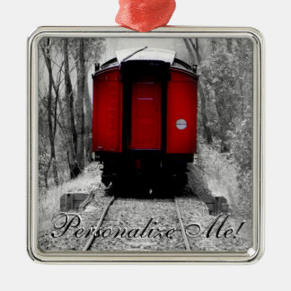 Old Fashioned Steam Train with Red Caboose Christmas Ornament