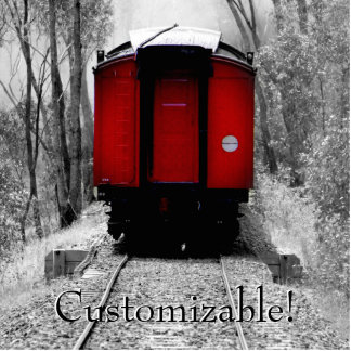 Old Fashioned Steam Train with Red Caboose Photo Sculpture Magnet
