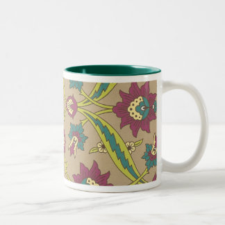 Old Fashioned Style Floral Two-Tone Coffee Mug