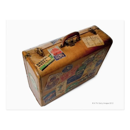 'Old Fashioned Suitcase With Travel Stickers Postcard