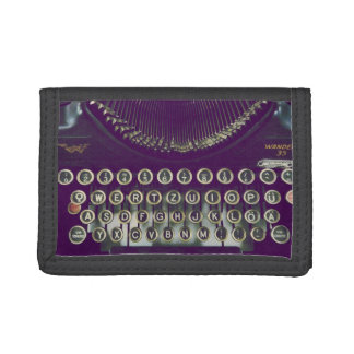 old fashioned typewriter trifold wallet