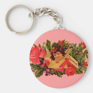 Old Fashioned Valentine Cupid Basic Round Button Key Ring