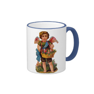 Old Fashioned Valentine Cupid With Roses Mugs