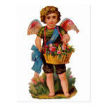 Old Fashioned Valentine Cupid With Roses Postcard
