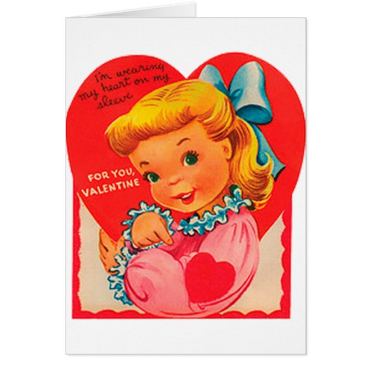 Old Fashioned Valentine Girl Card