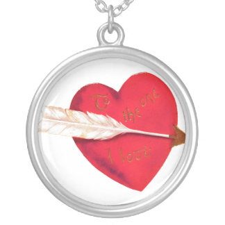 Old Fashioned Valentine's Day Heart Round Pendant Necklace