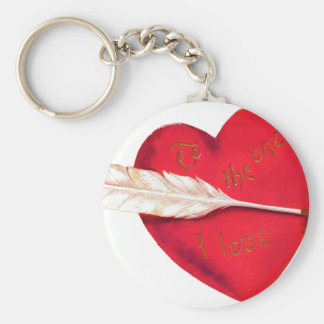 Old Fashioned Valentine's Heart Basic Round Button Key Ring
