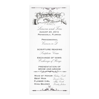 Old fashioned Victorian Ceremony Program Custom Rack Cards