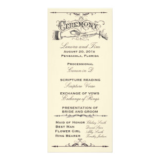 Old fashioned Victorian Ceremony Program Customized Rack Card