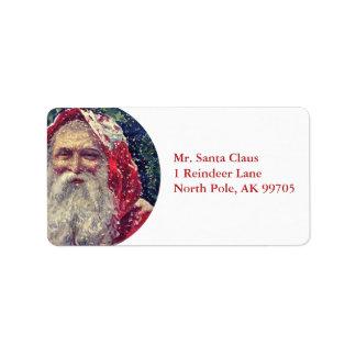 Old-fashioned Victorian Saint Nicholas Address Label