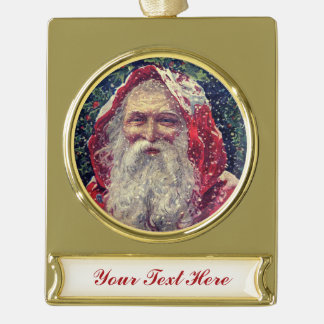 Old-fashioned Victorian Saint Nicholas Gold Plated Banner Ornament