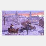 Old Fashioned Vintage Christmas Rectangular Sticker