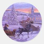 Old Fashioned Vintage Christmas Round Sticker