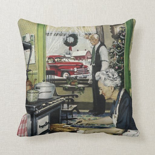 Old Fashioned Vintage Home Kitchen Christmas Pillow