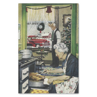 """Old Fashioned Vintage Home Kitchen Christmas 10"""" X 15"""" Tissue Paper"""