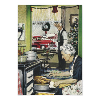 Old Fashioned Vintage Home Kitchen Christmas Magnetic Invitations