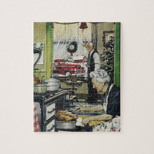 Old Fashioned Vintage Home Kitchen Christmas Puzzle