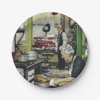 Old Fashioned Vintage Home Kitchen Christmas 7 Inch Paper Plate