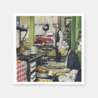 Old Fashioned Vintage Home Kitchen Christmas Disposable Napkins