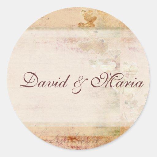Old fashioned vintage wedding design stickers