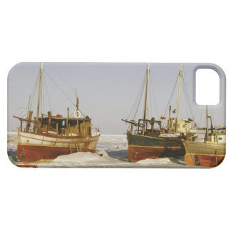Old-fashioned, weathered fishing boats beached iPhone 5 case