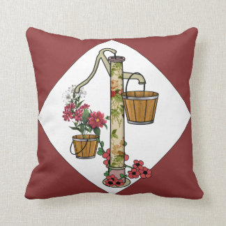 Old-Fashioned Well Pump in the Garden Throw Pillow
