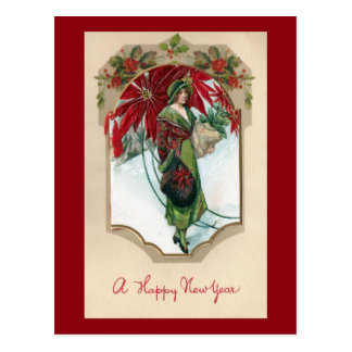 Old Fashioned Woman with Poinsettias New Year Postcard