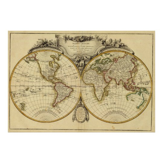 Old Fashioned World Map Poster Zazzlecouk - Old time world map