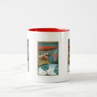 Old Fashioned X-Mas Greetings American Santa Coffee Mugs