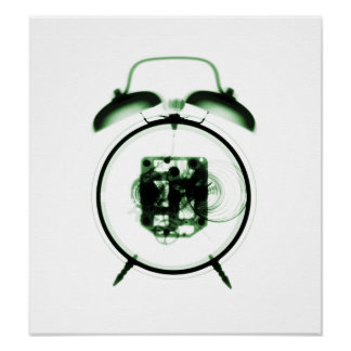 Old fashioned x ray clock green posters