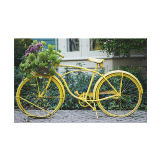 Old Fashioned Yellow Bicycle Canvas Print