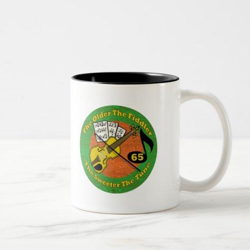 Old Fiddler 65th Birthday Gifts Coffee Mugs