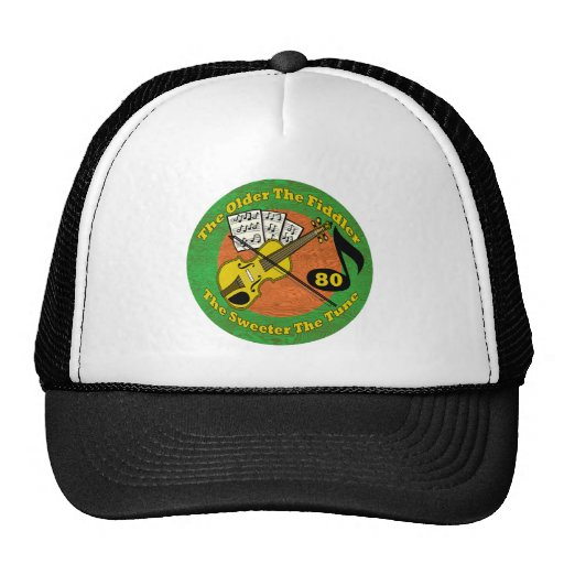 Old Fiddler 80th Birthday Gifts Hats