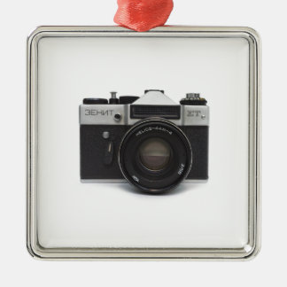 Old film camera square metal christmas ornament