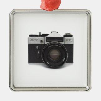 Old film camera Silver-Colored square decoration