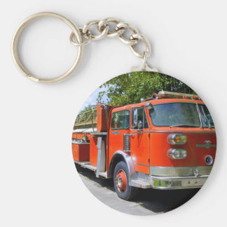 Old Firetruck Basic Round Button Key Ring