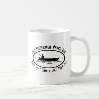 Old Fishermen Never Die Basic White Mug