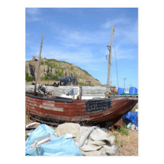 Old Fishing Boat On The Beach Post Card
