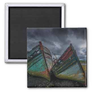 Old Fishing Boats Square Magnet