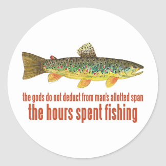 Old Fishing Saying | Brown Trout Classic Round Sticker