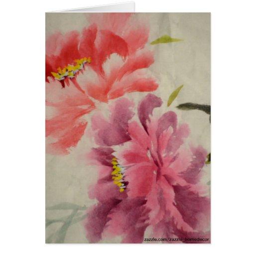 OLD FLOWER PRINT GREETING CARD
