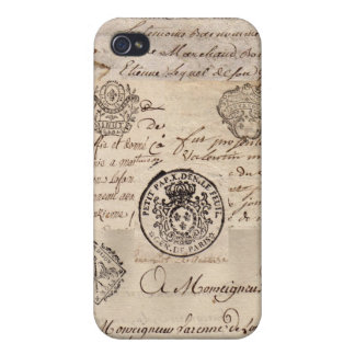 Old French Documents Covers For iPhone 4