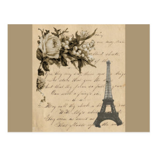 Old French flowers and Eiffel Tower Postcard