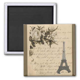 Old French flowers and Eiffel Tower Square Magnet