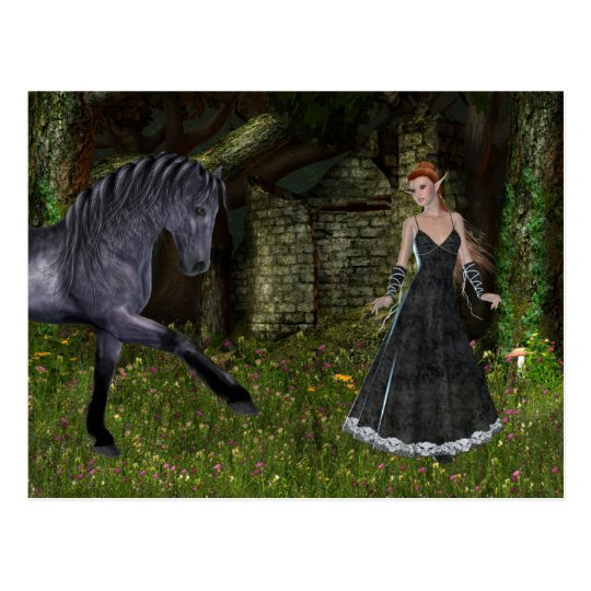 'Old Friends' ~ An Elf & Black Horse Series Postcard