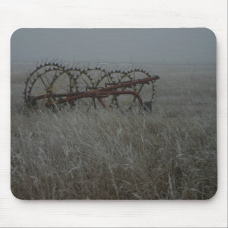 Old frosted Hay Rake photograph on mousepads